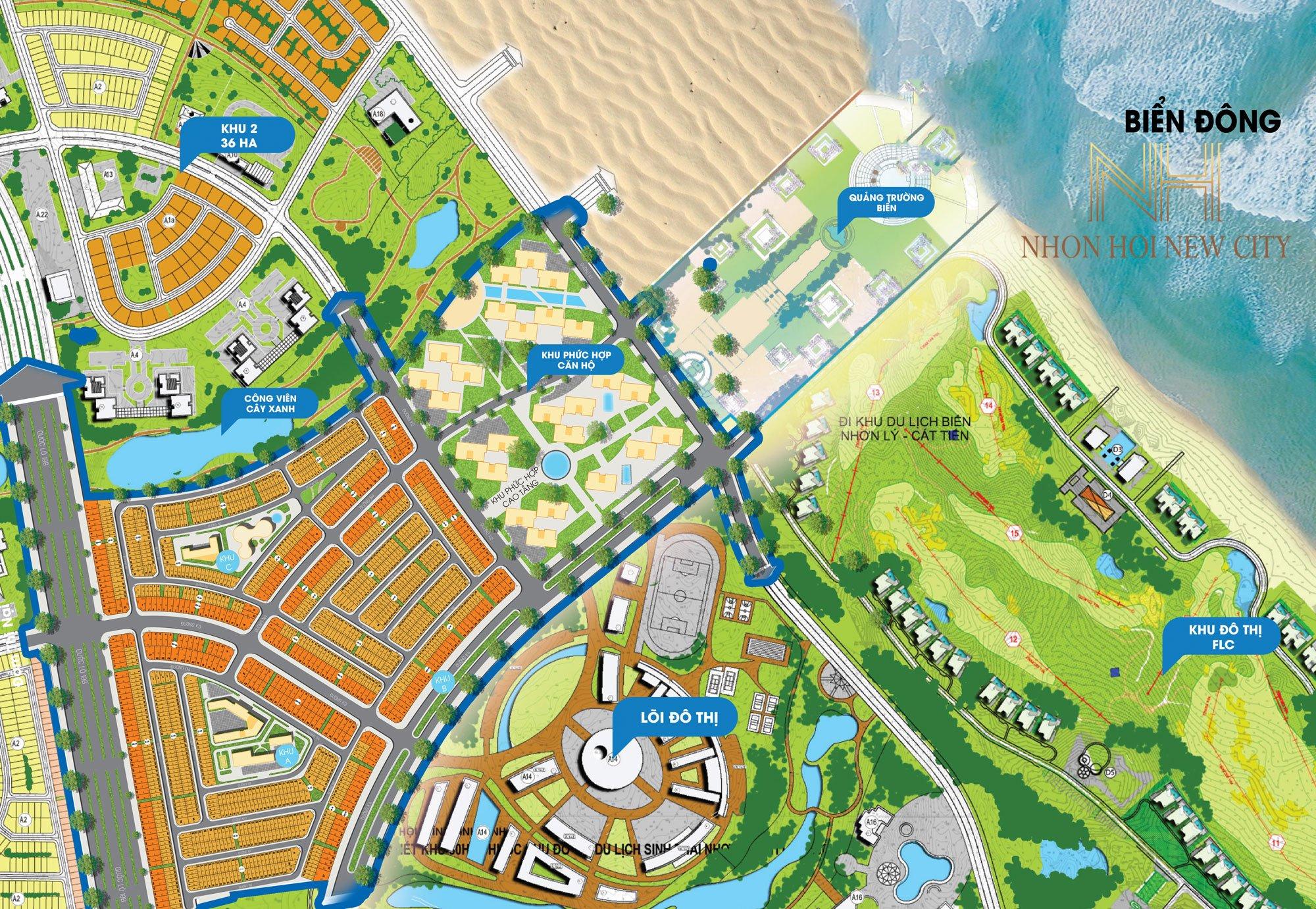 Mặt bằng phân lô Dự án Khu đô thị Nhơn Hội