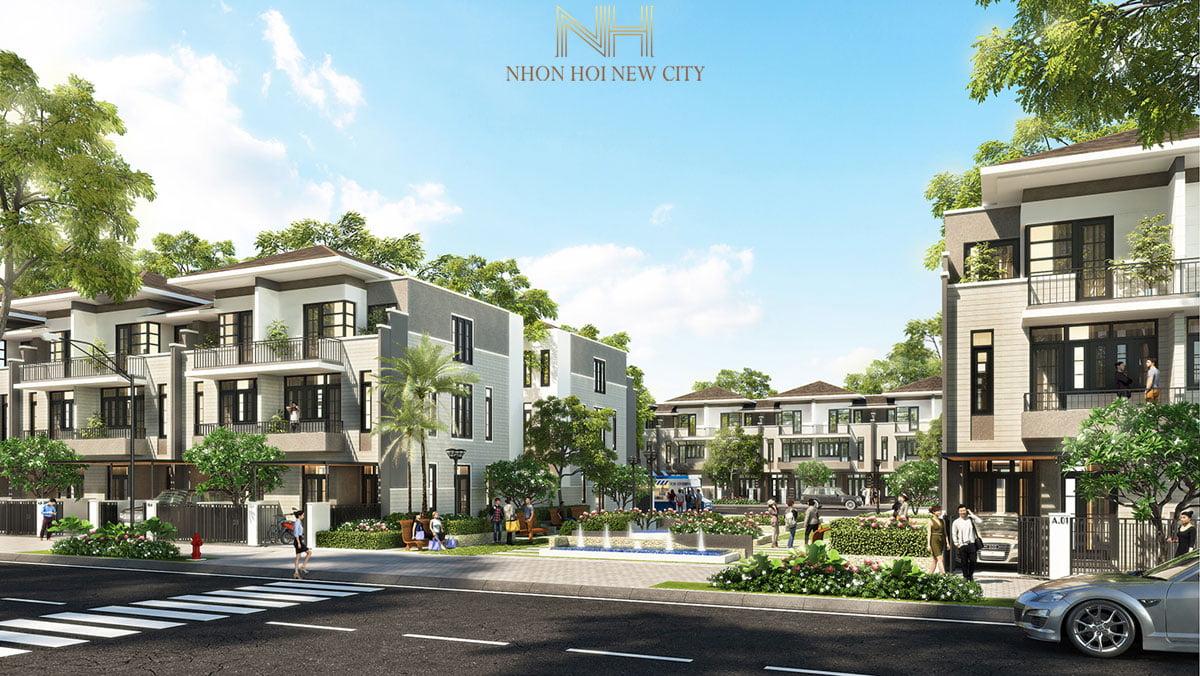 Phối cảnh Khu nhà phố Dự án Khu đô thị Du lịch Sinh thái Nhơn Hội New City