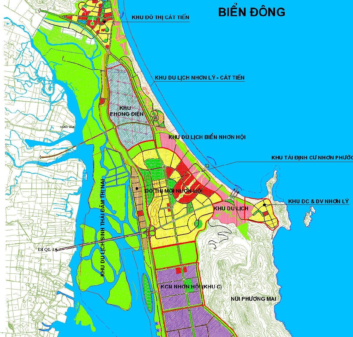 Vị trí tiếp giáp Dự án Khu đô thị du lịch sinh thái Nhơn Hội