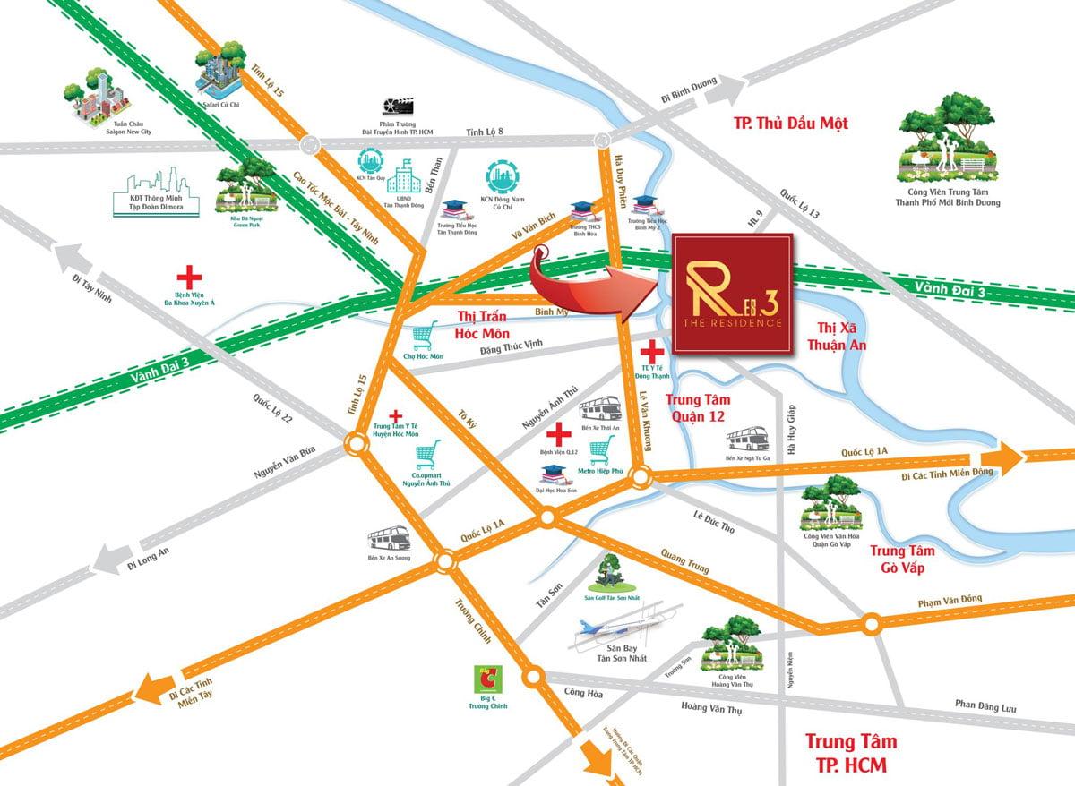 Vị trí Trung tâm Củ Chi của Dự án Res3 Võ Văn Bích