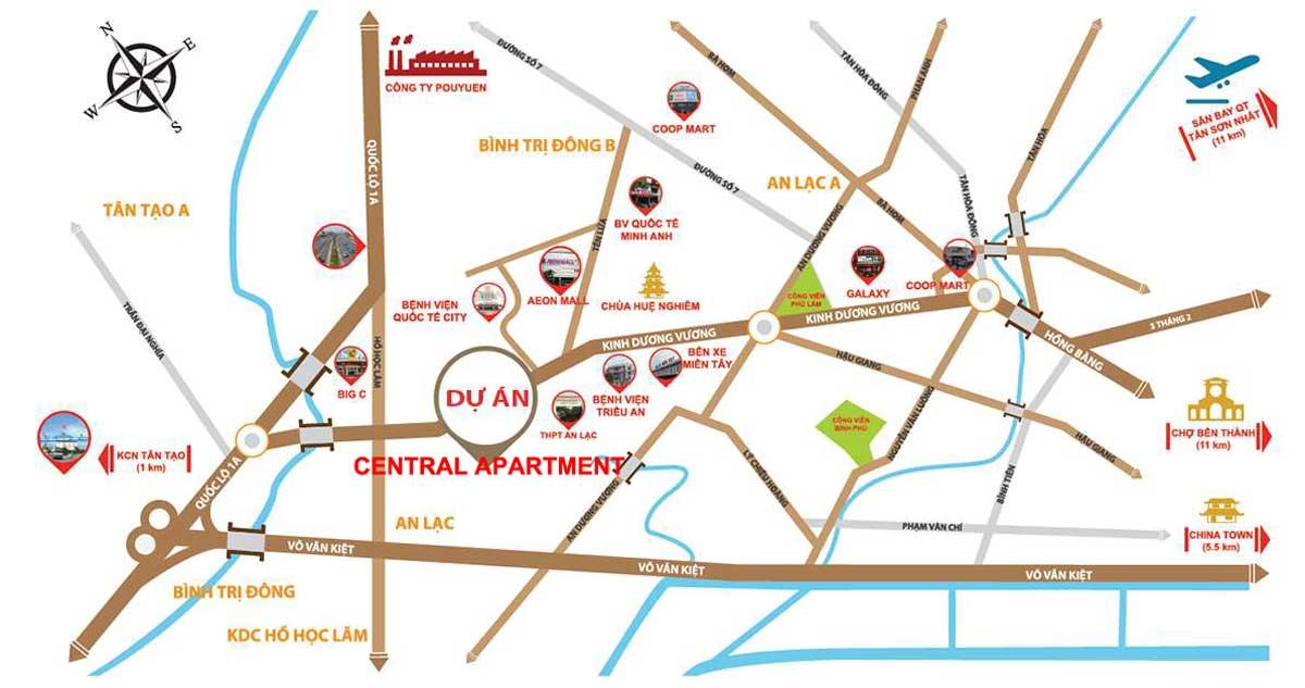Vị trí Dự án Nhà ở xã hội Central Apartment Kinh Dương Vương