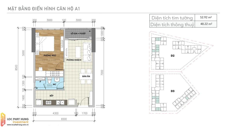 Thiết kế căn A1 Aio Bình Tân