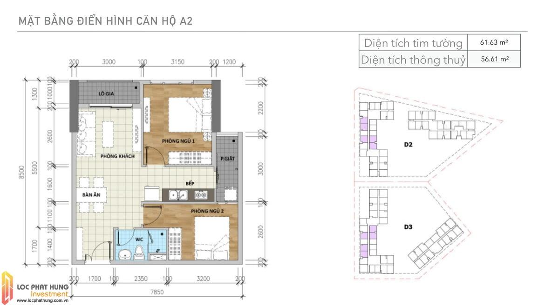 Thiết kế căn A2 Aio Bình Tân