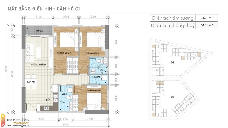 Thiết kế căn C1 Aio Bình Tân