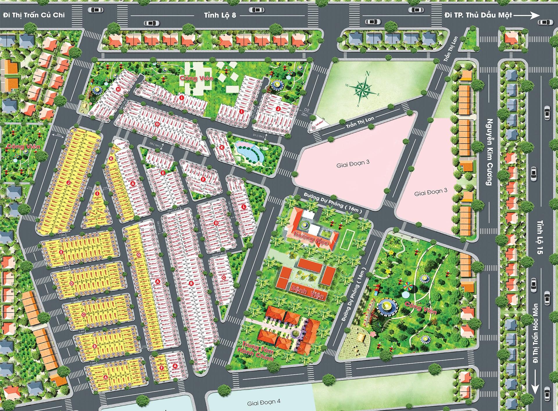 Mặt bằng thiết kế dự án Golden city Tân Quy