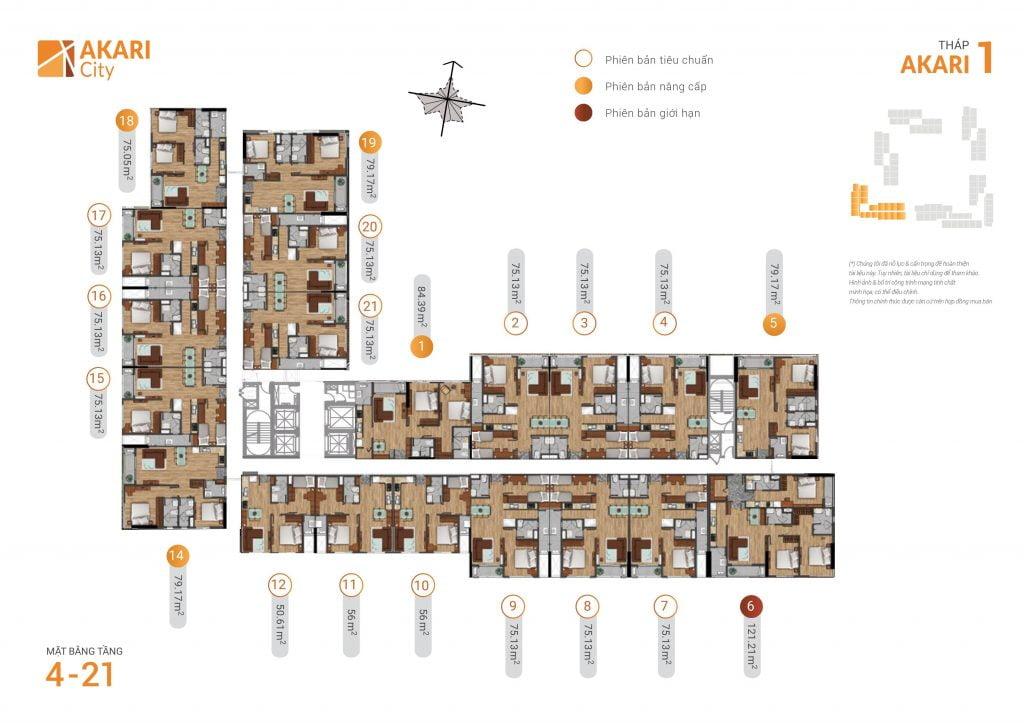 mặt bằng thiết kế căn hộ tháp 1 dự án akari city bình tân