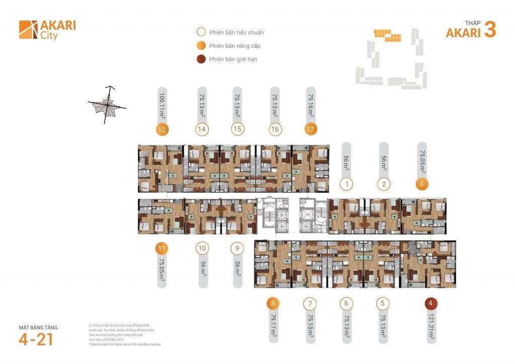 mặt bằng thiết kế căn hộ tháp 3 dự án akari city bình tân