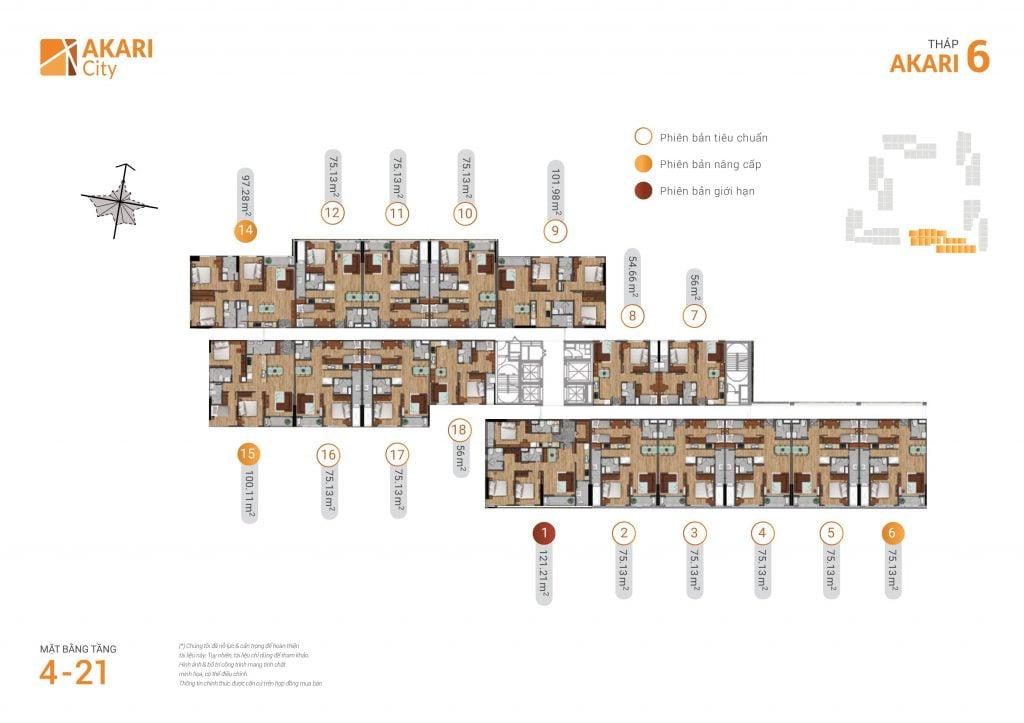 mặt bằng thiết kế căn hộ tháp 6 dự án akari city bình tân