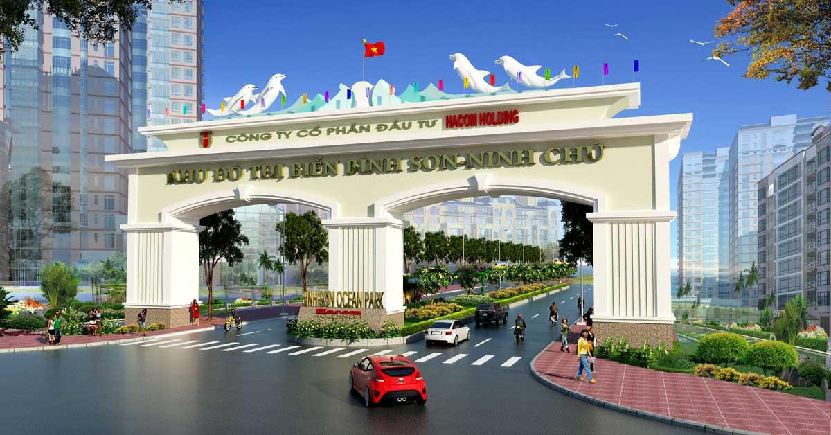Cổng Khu đô thị biển Bình Sơn – Ninh Chữ Bình Sơn Ocean Park