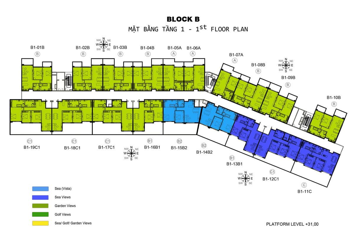 Mặt bằng tầng 1 Block B Căn hộ Ocean Vista Phan Thiết