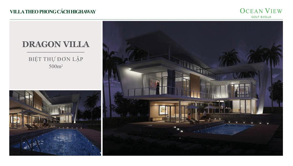 Phối cảnh Biệt thự Dragon Villa Dự án Ocean View Golf & Villas