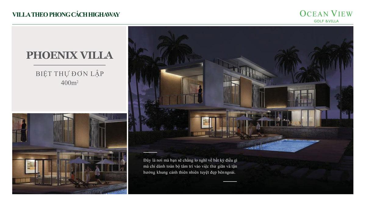 Phối cảnh Biệt thự Phoenix Villa Dự án Ocean View Golf & Villas