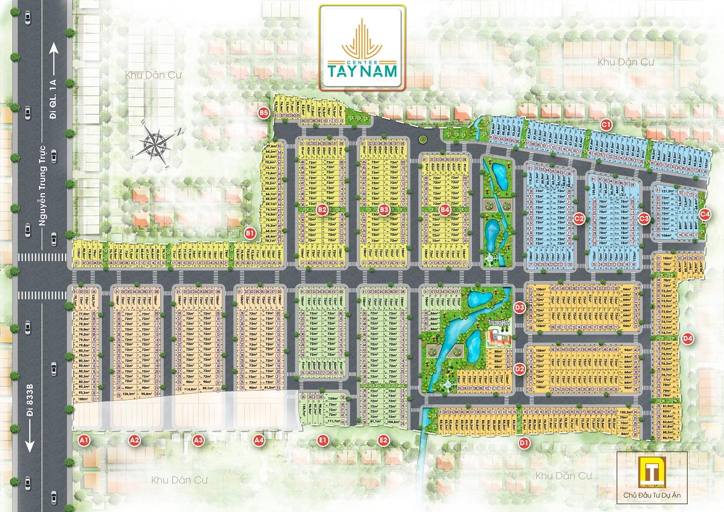 Mặt bằng phân lô dự án Tây Nam center