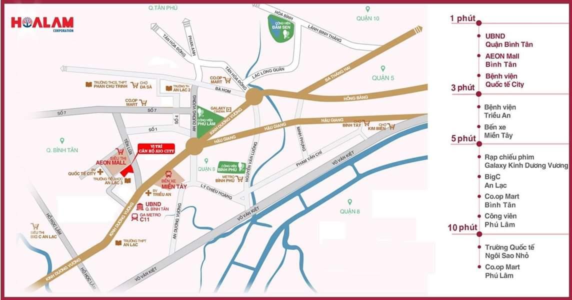 Vị trí Dự án Căn hộ Aio City Bình Tân