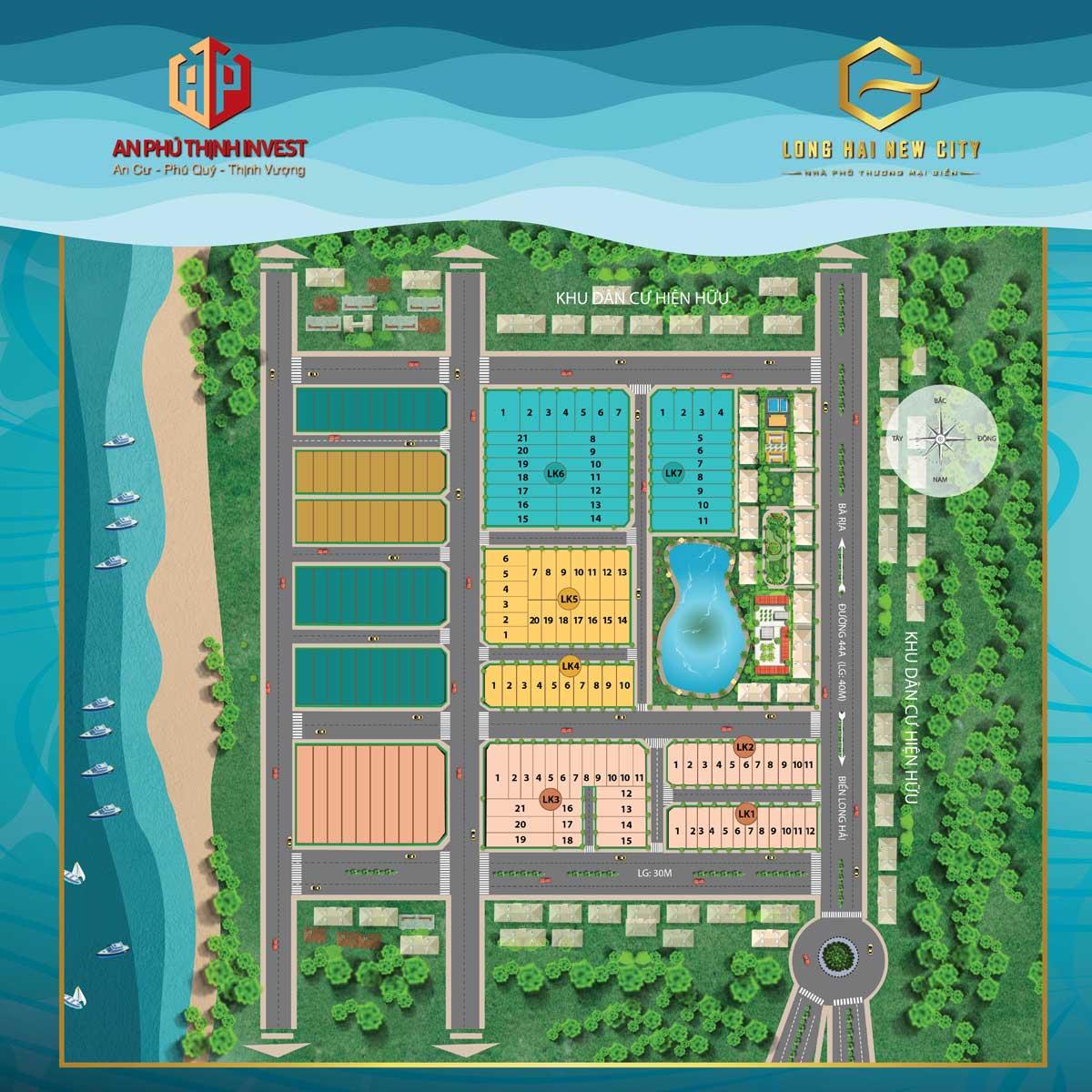 Mặt bằng phân lô Dự án Long Hải New City