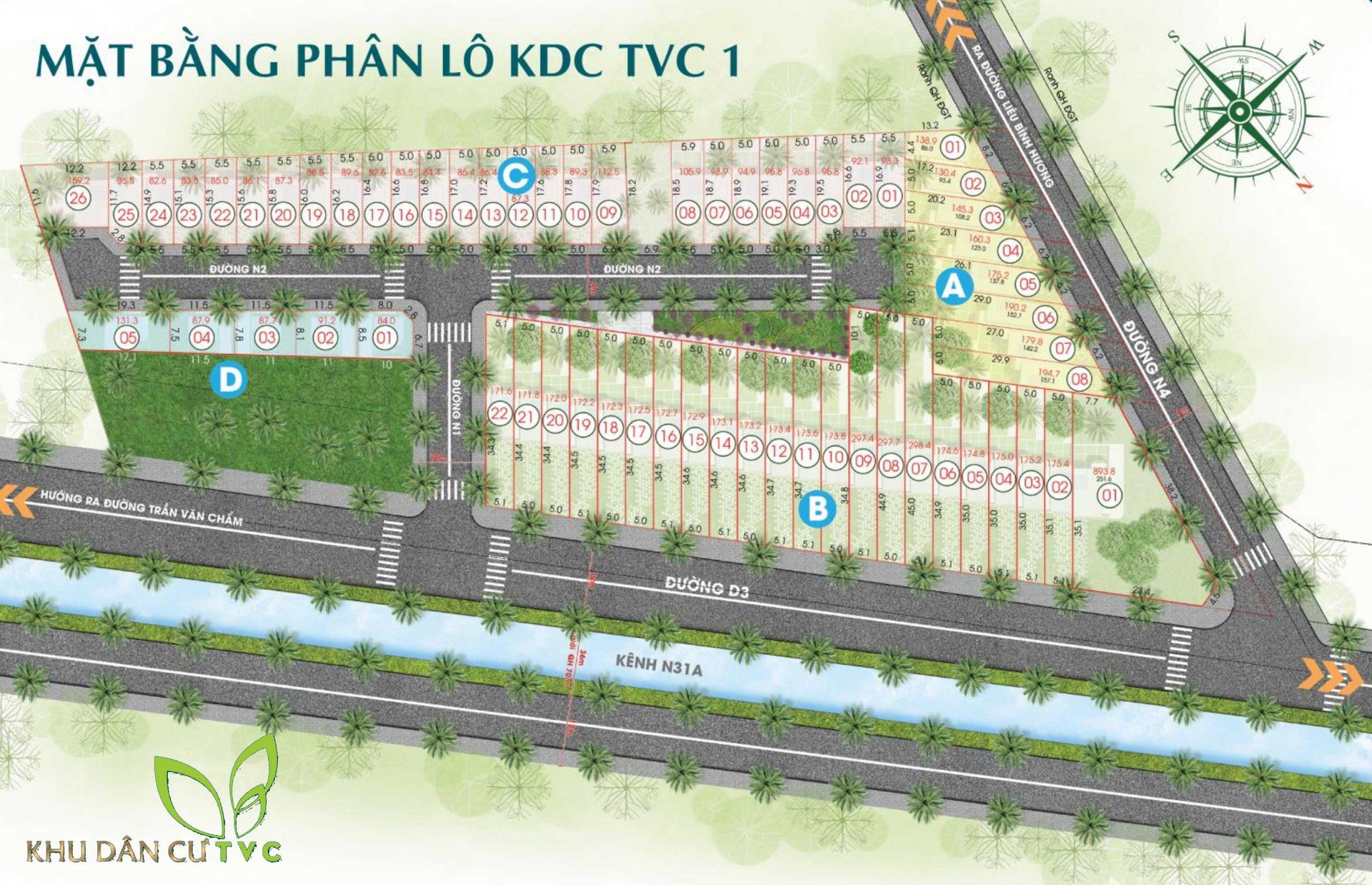 Mặt bằng phân lô Dự án Đất nền Trần Văn Chẩm TVC 1 Củ Chi