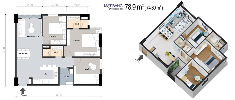 Thiết kế Căn hộ 3 Phòng ngủ 78,9m2 PiCity