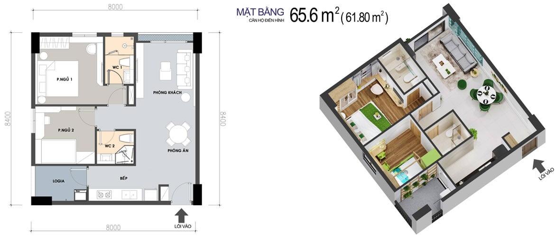 Thiết kế Căn hộ 2 Phòng ngủ 65,6m2 PiCity