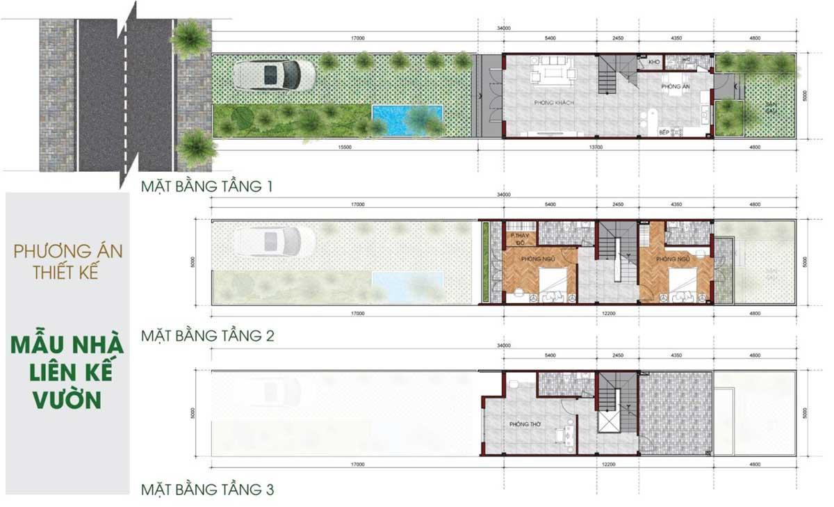 Thiết kế Nhà phố liên kế vườn Khu dân cư TVC Trần Văn Chẩm Củ Chi
