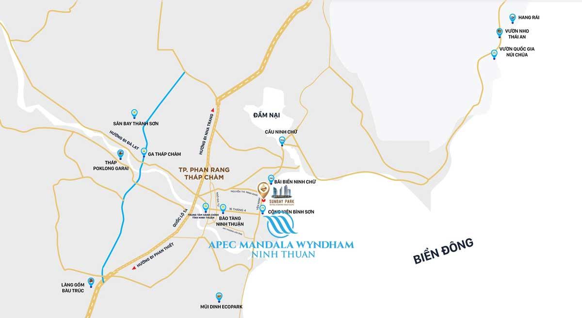 Vị trí Dự án Condotel Apec Mandala Wyndham Phan Rang – Tháp Chàm Ninh Thuận