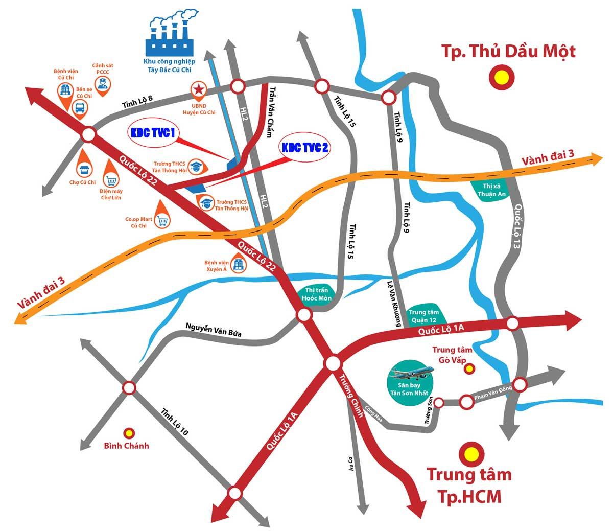 Vị trí Dự án Đất nền TVC 1 & TVC 2 Trần Văn Chẩm Củ Chi