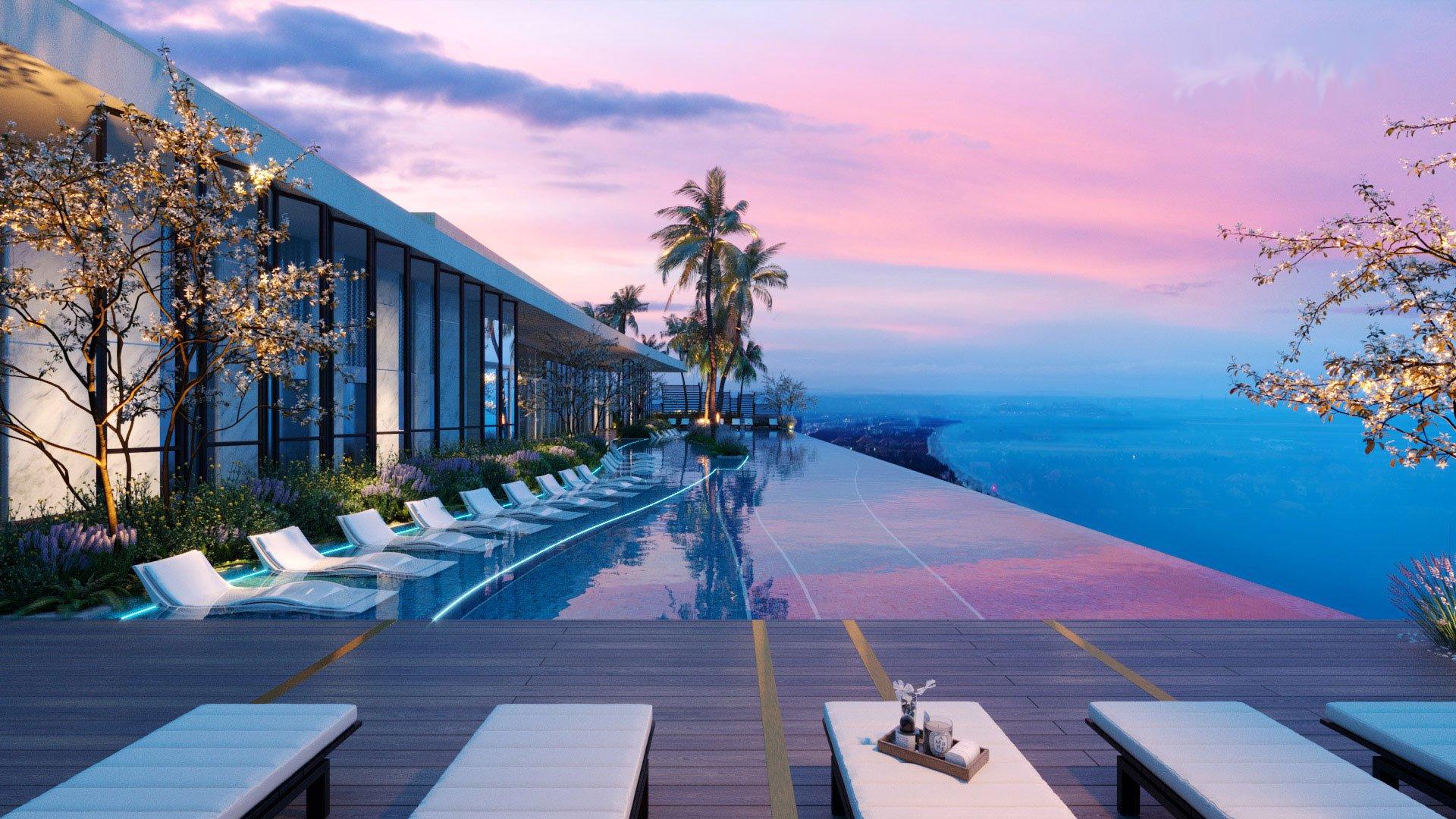 Bồ bơi chân mây view toàn cảnh thành phố Nha Trang xinh đẹp