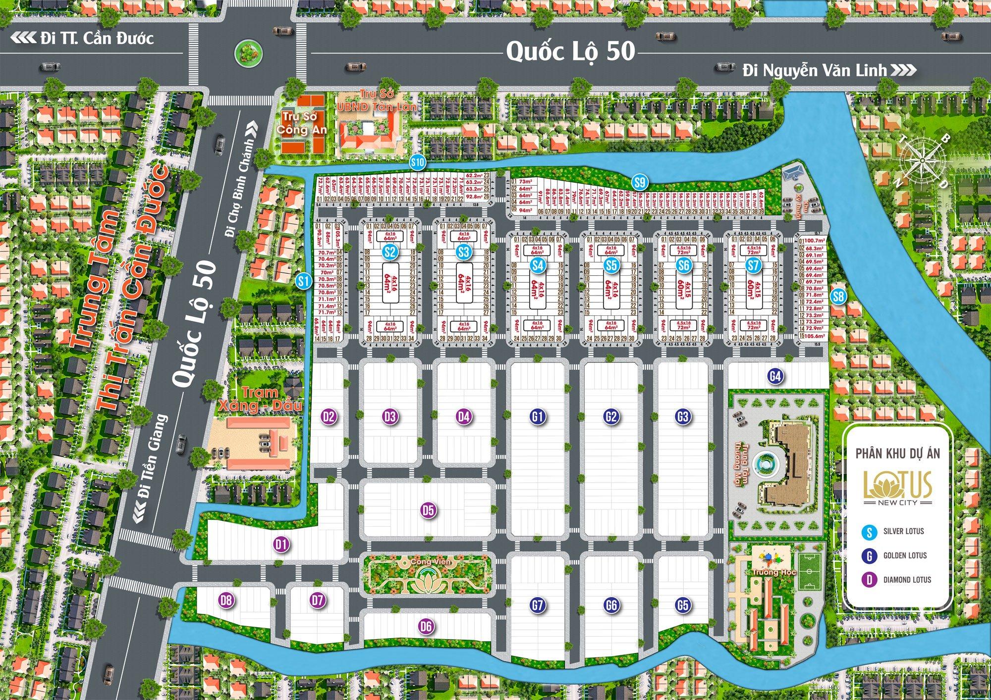 Mặt bằng phân lô Dự án Lotus New City Cần Đước Long An