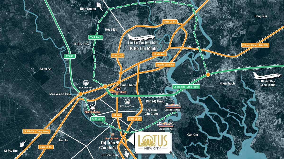 Vị trí trung tâm Cần Đước của Dự án Lotus New City