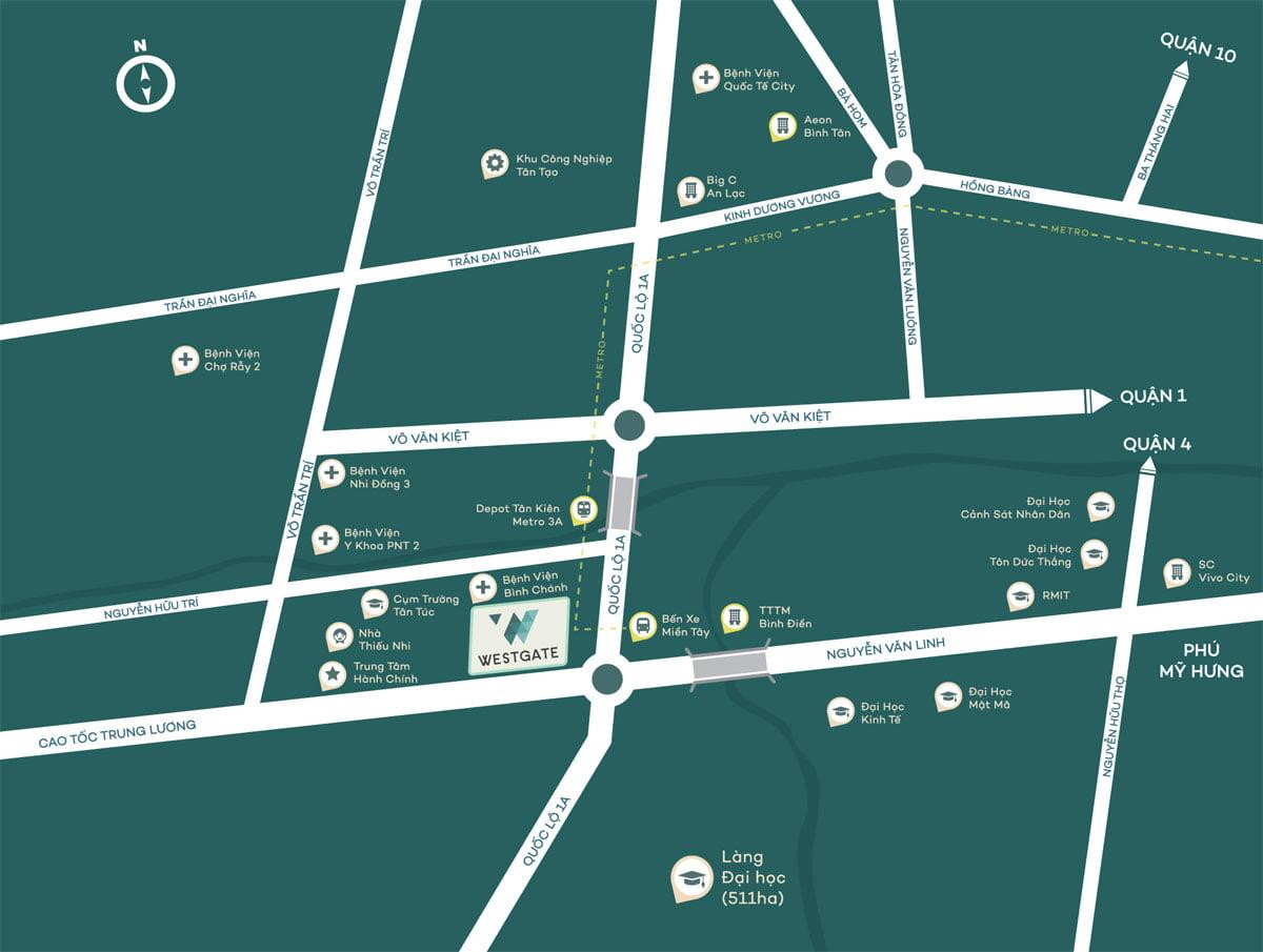 Bản đồ Vị trí Dự án Căn hộ Chung cư West Gate Bình Chánh