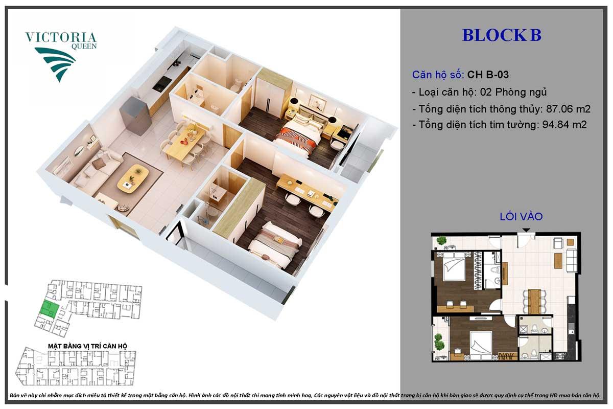 Thiết kế Căn hộ CH B-03 Block B Victoria Queen