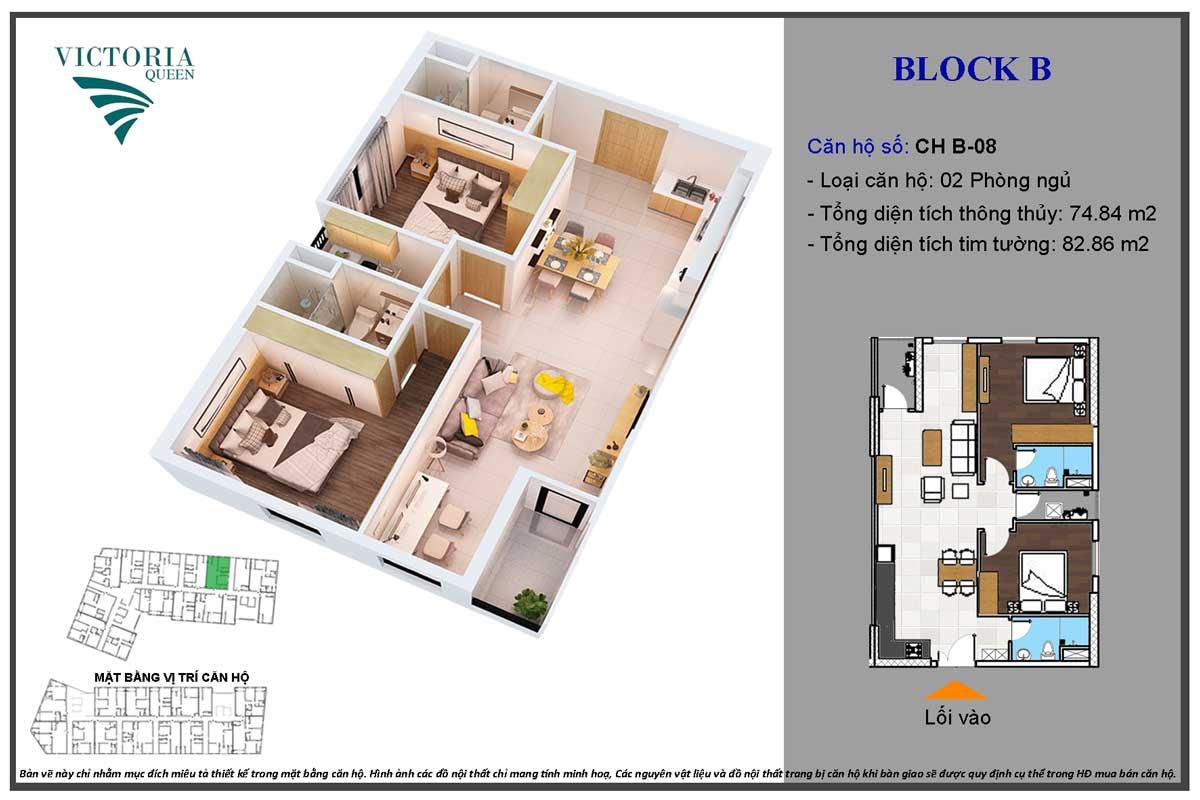 Thiết kế Căn hộ CH B-08 Block B Victoria Queen