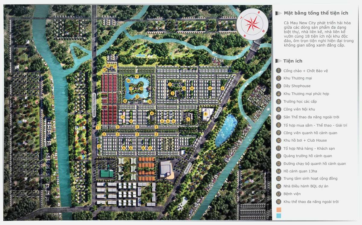 Hệ thống 18 tiện ích nội khu Dự án Cà Mau New City