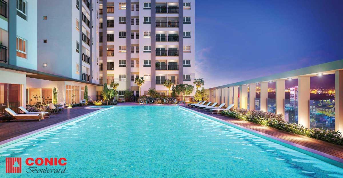 Hồ bơi tràn bờ Căn hộ Chung cư Conic Boulevard
