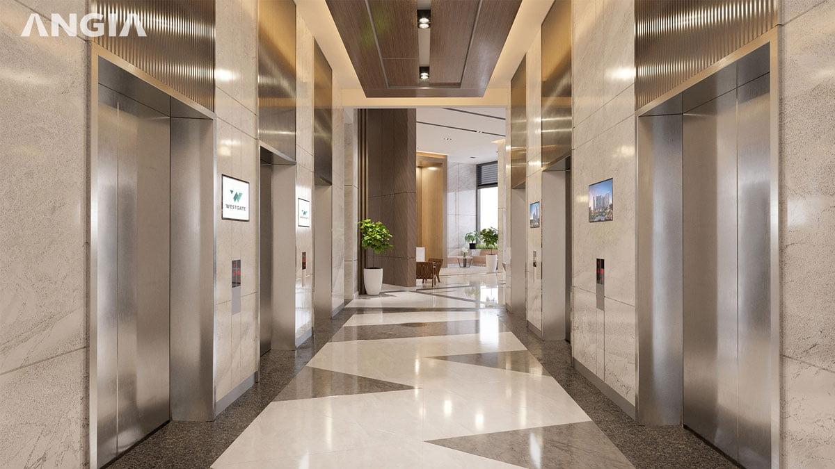 Khu vực thang máy Dự án West Gate Bình Chánh