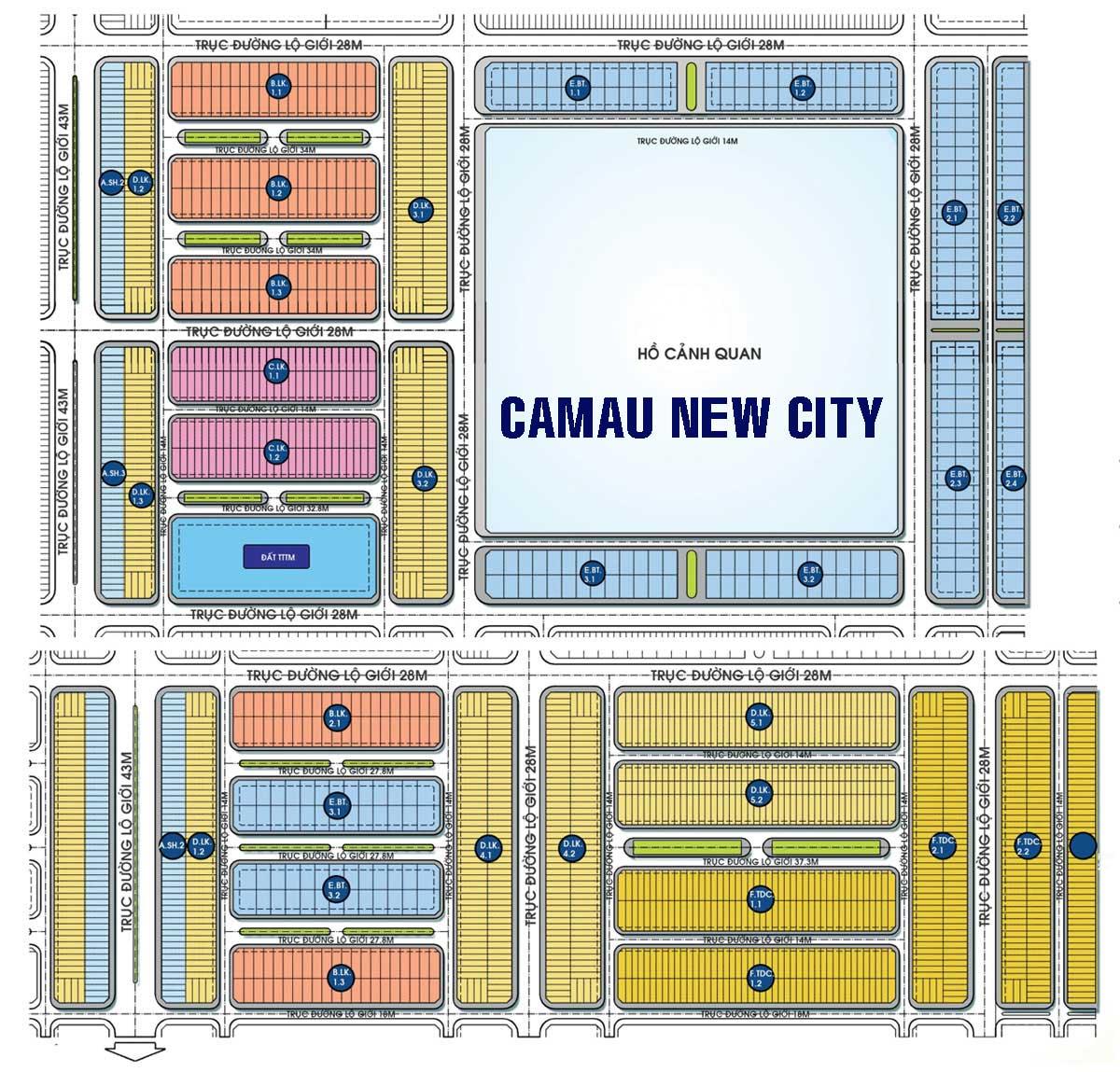 Mặt bằng Phân lô Dự án Khu Đô Thị Cà Mau New City
