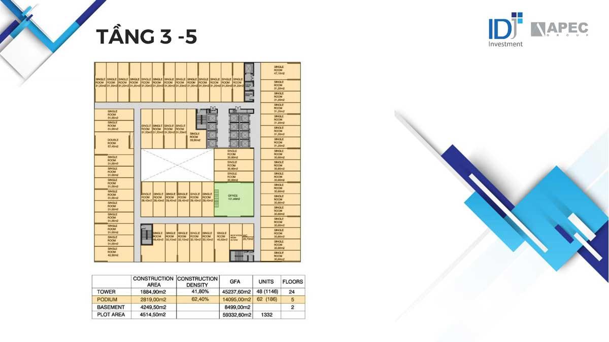 Mặt bằng Tầng 3 – 5 Dự án Căn hộ Apec Mandala Grand Phú Yên
