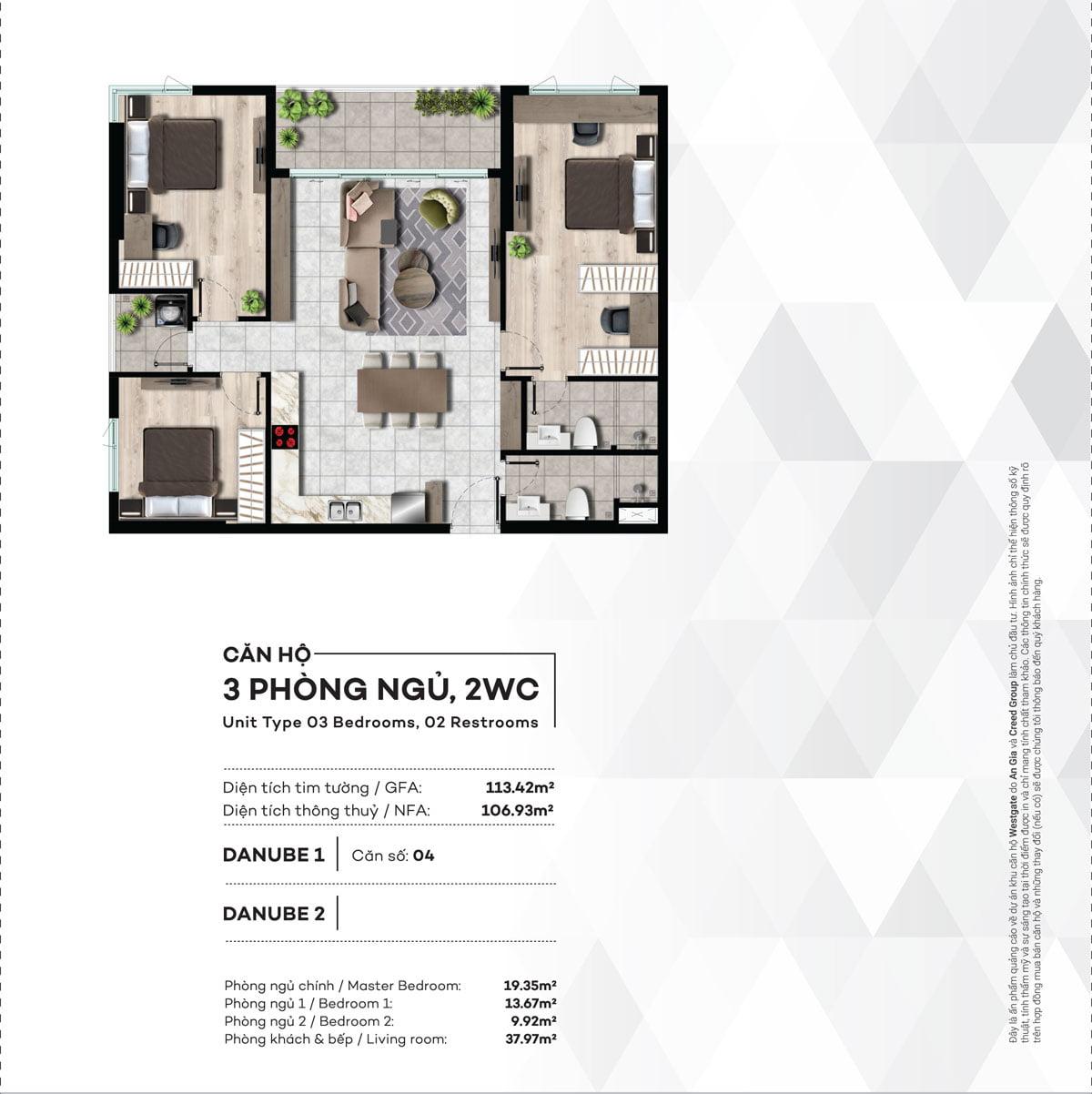 Thiết kế Căn hộ 3PN West Gate Bình Chánh