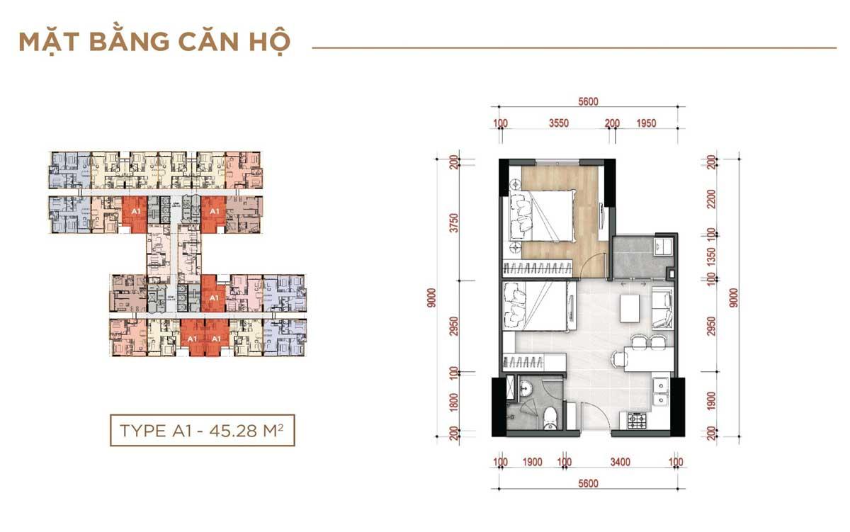 Thiết kế Căn hộ Type A1 – 45.28m2 La Partenza Nhà Bè