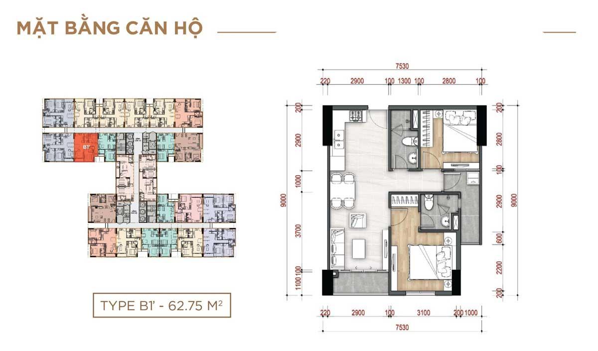 Thiết kế Căn hộ Type B1 – 62.75m2 La Partenza Nhà Bè