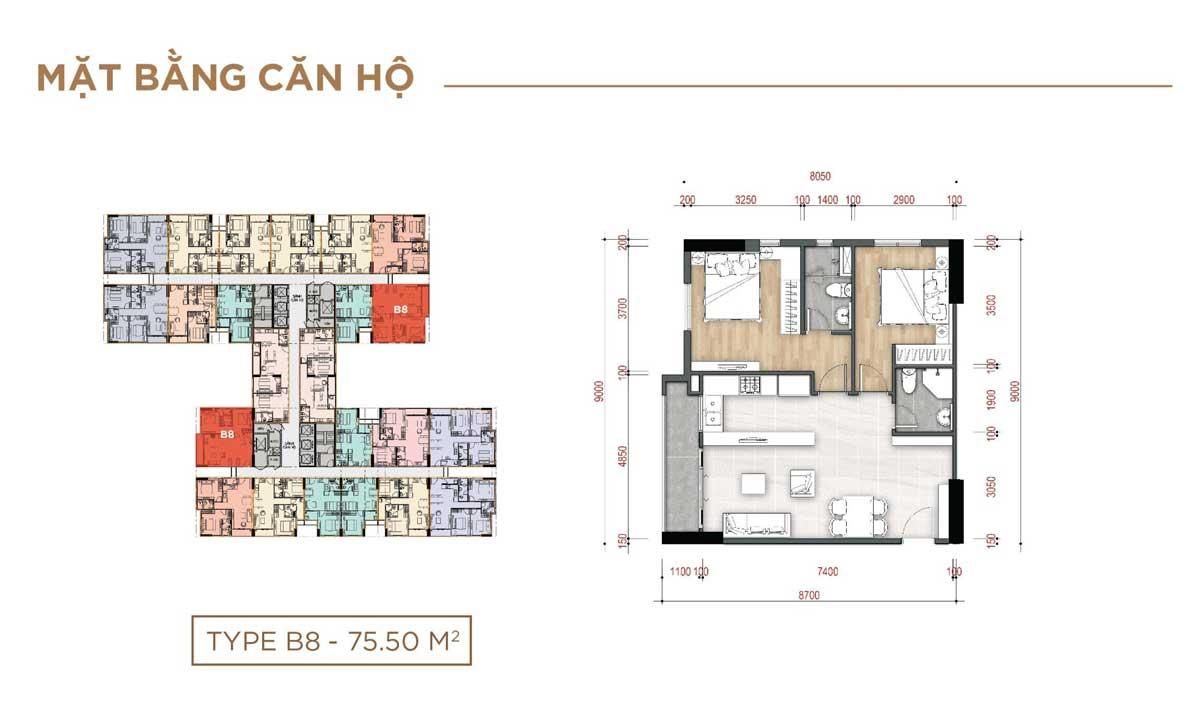 Thiết kế Căn hộ Type B8 – 75.50m2 La Partenza Nhà Bè