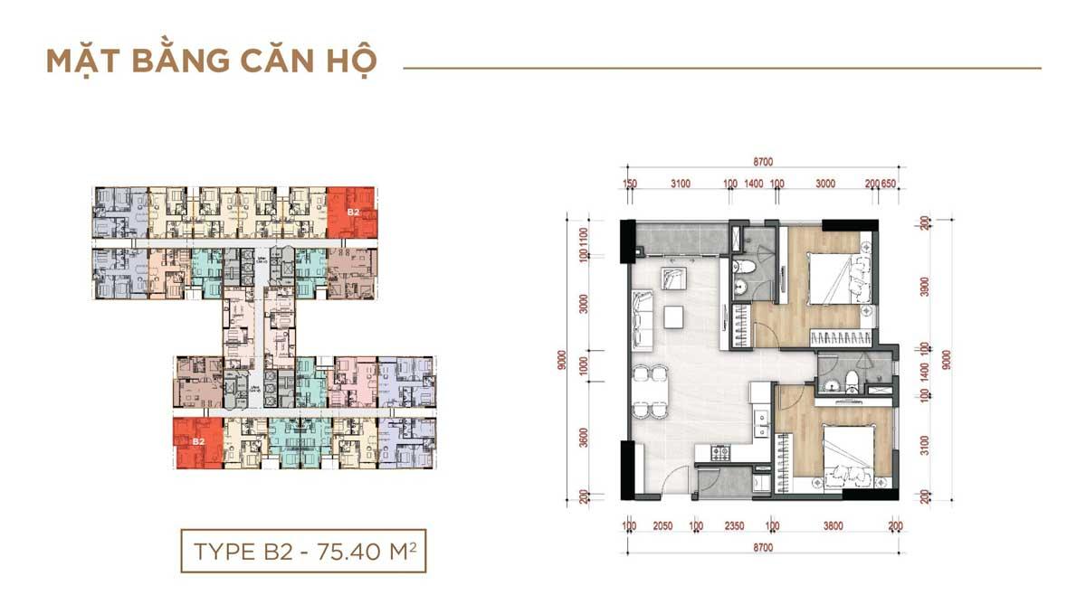 Thiết kế Căn hộ Type B2 – 75.40m2 La Partenza Nhà Bè