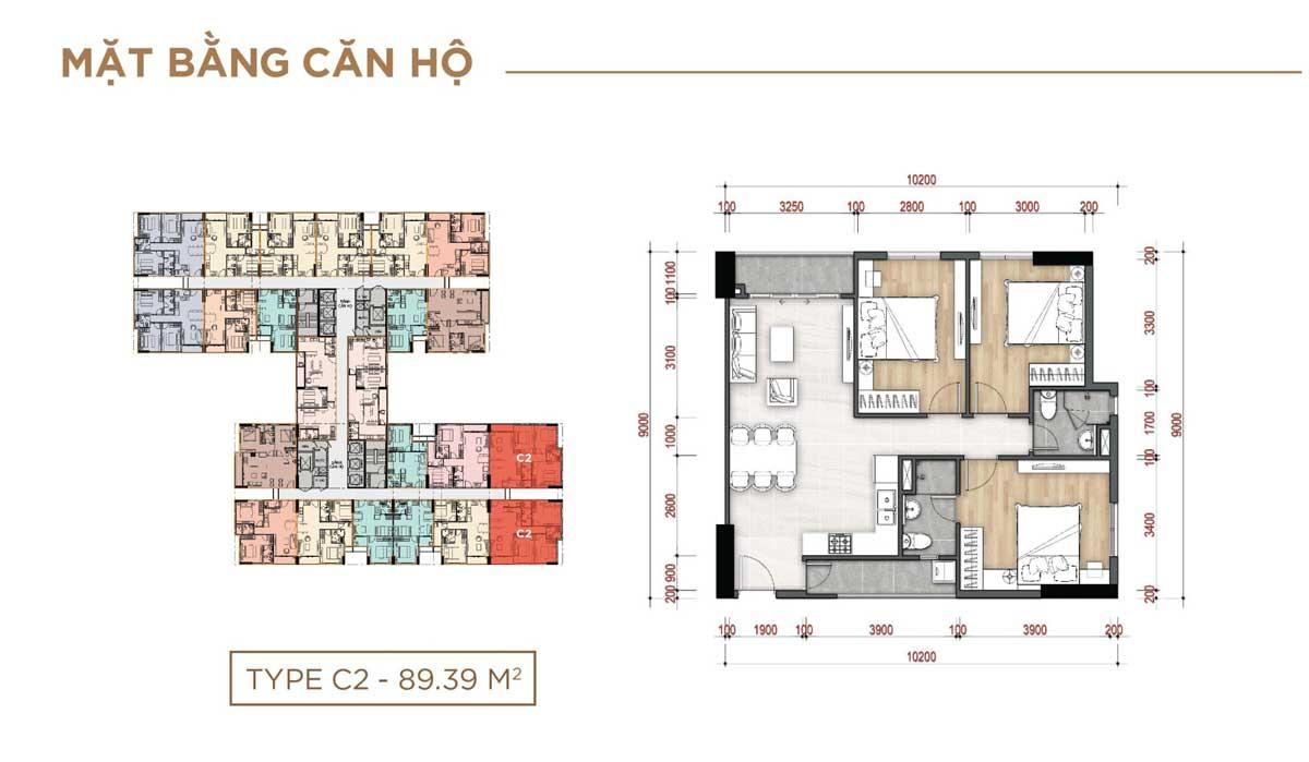 Thiết kế Căn hộ Type C2 – 89.39m2 La Partenza