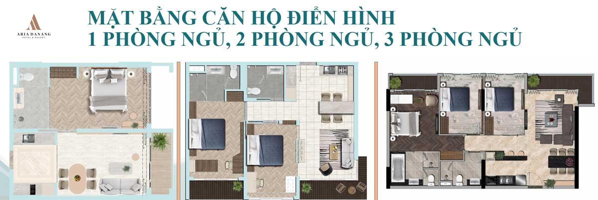 Thiết kế 3 loại Căn hộ Aria Hotel & Resort Đà Nẵng