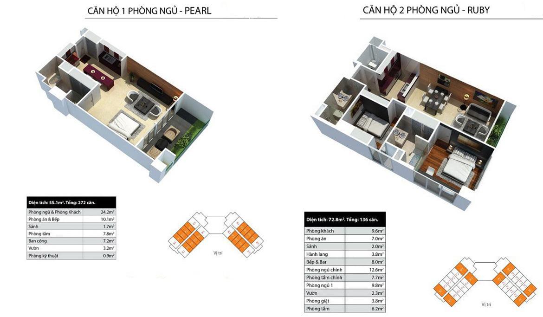 Thiết kế căn hộ 1 và 2 PN dự án căn hộ condotel Peninsula Nha Trang