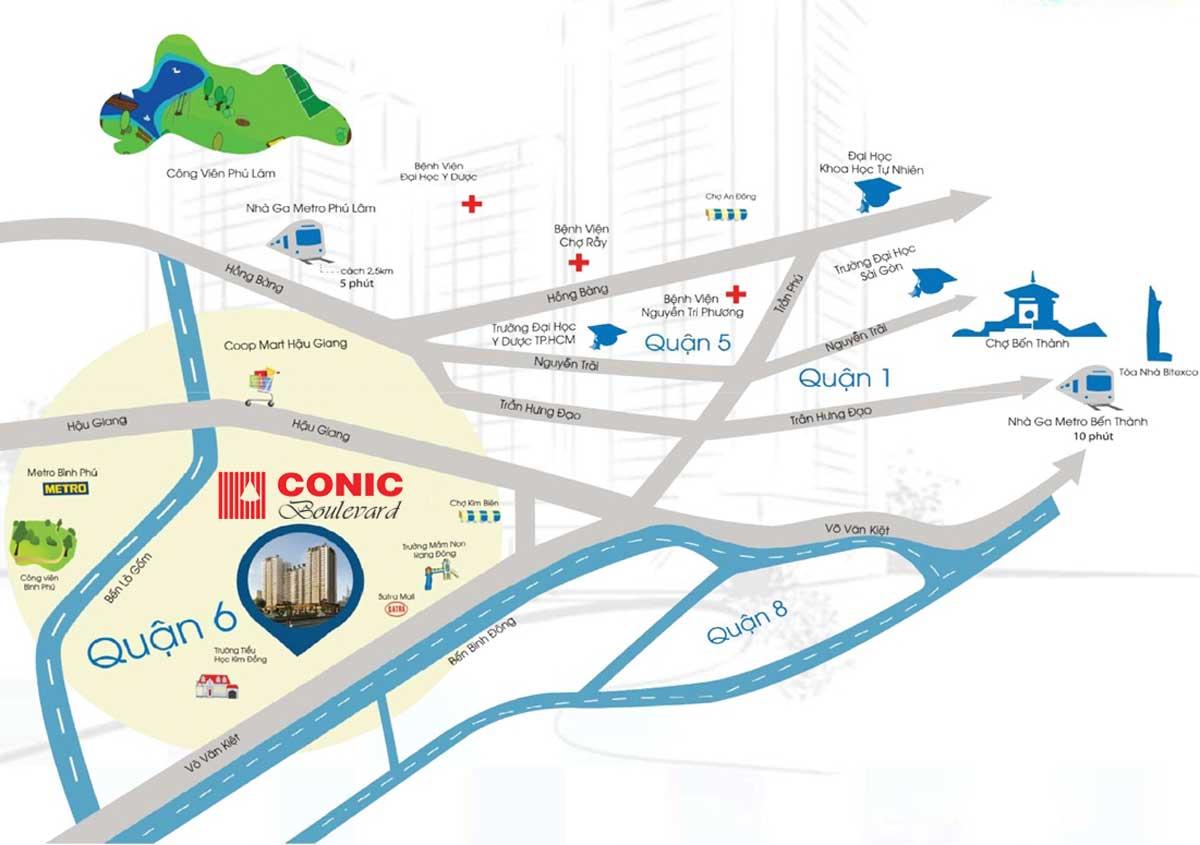 Vị trí Dự án Căn hộ Chung cư Conic Boulevard Quận 6