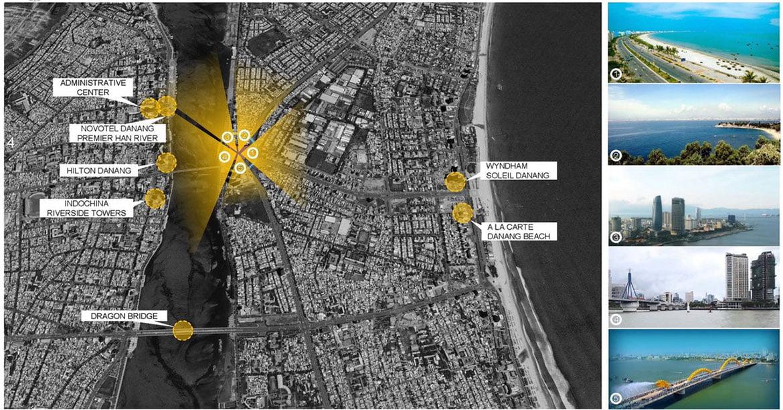 Vị trí New Century Bay Đà Nẵng ngay sông Hàn và bãi biển Phạm Văn Đồng Đà Nẵng