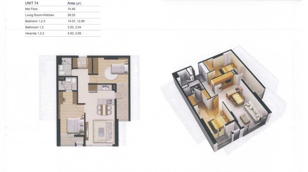 Thiết kế Căn hộ 74m2 D'Lusso Quận 2