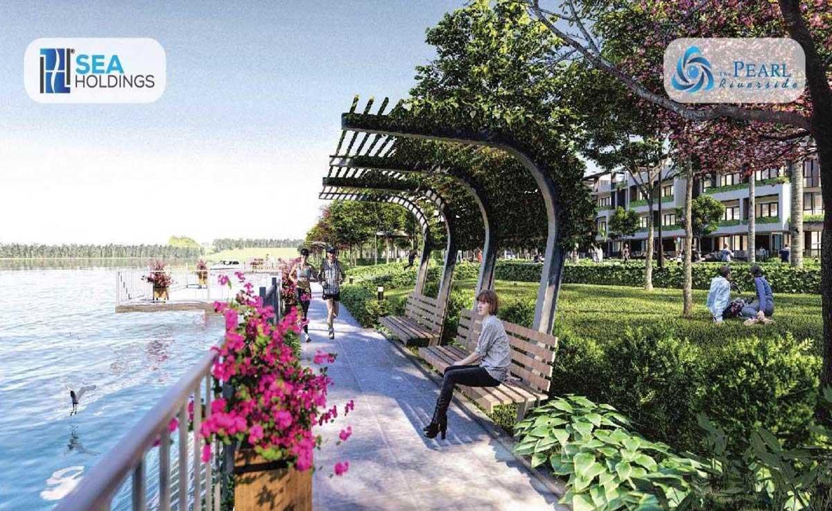 Khu công viên dọc bờ sông Vàm Cỏ Đông Dự án Nhà Phố – Biệt thự The Pearl Riverside Bến Lức Long An