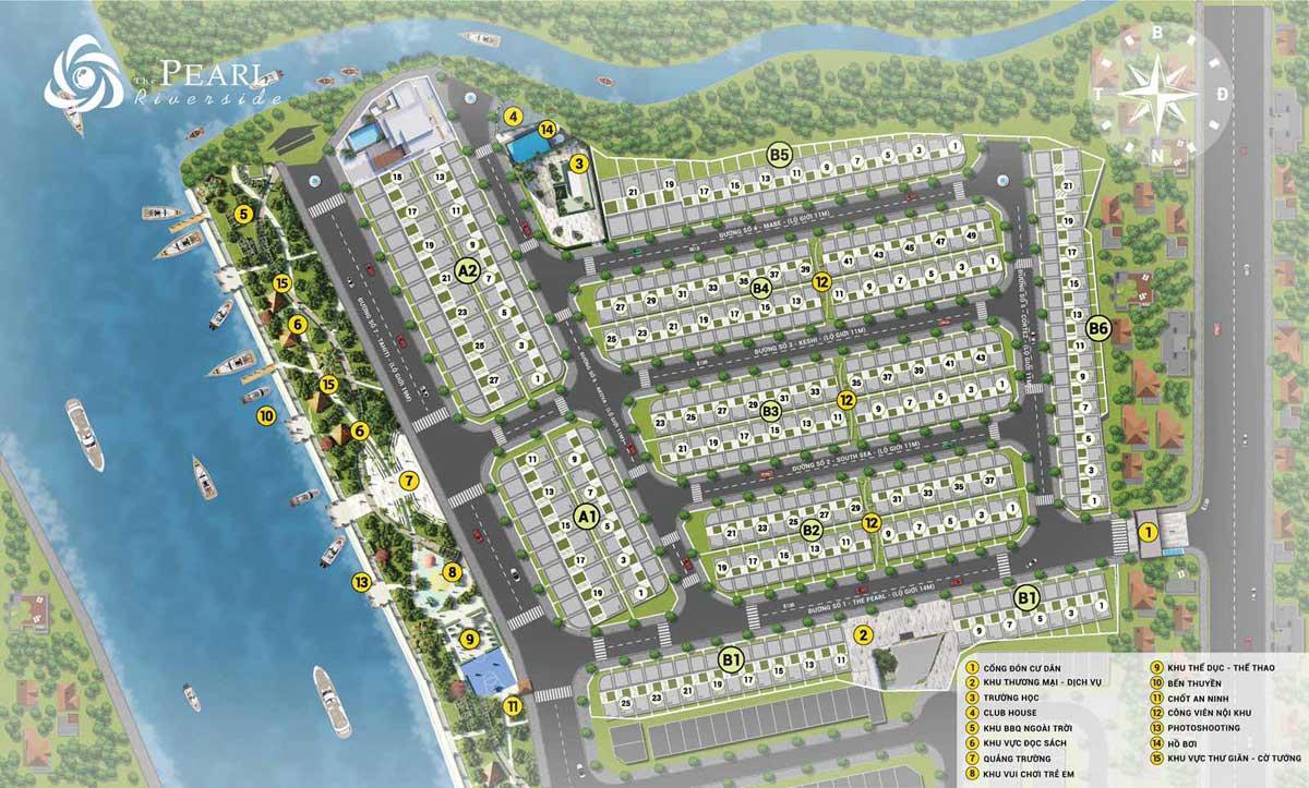 Mặt bằng Dự án Nhà Phố – Biệt thự The Pearl Riverside Bến Lức Long An