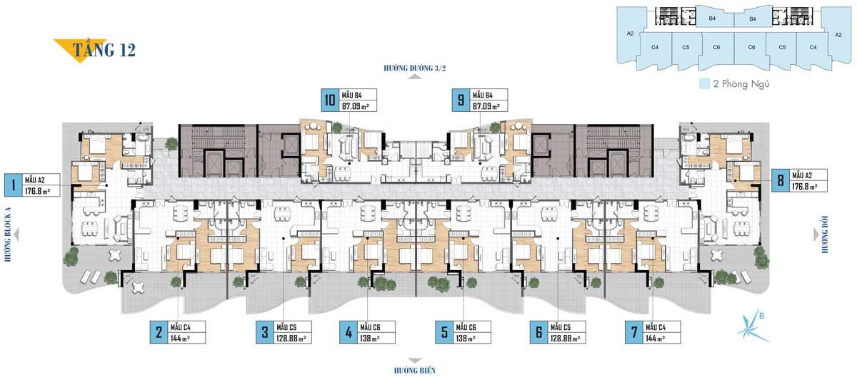 Mặt bằng tầng 12 Dự án Aria Vũng Tàu